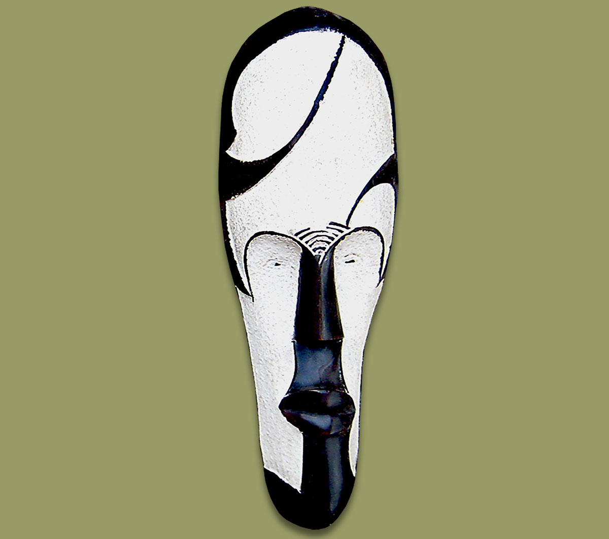 African Mask Fang Small White