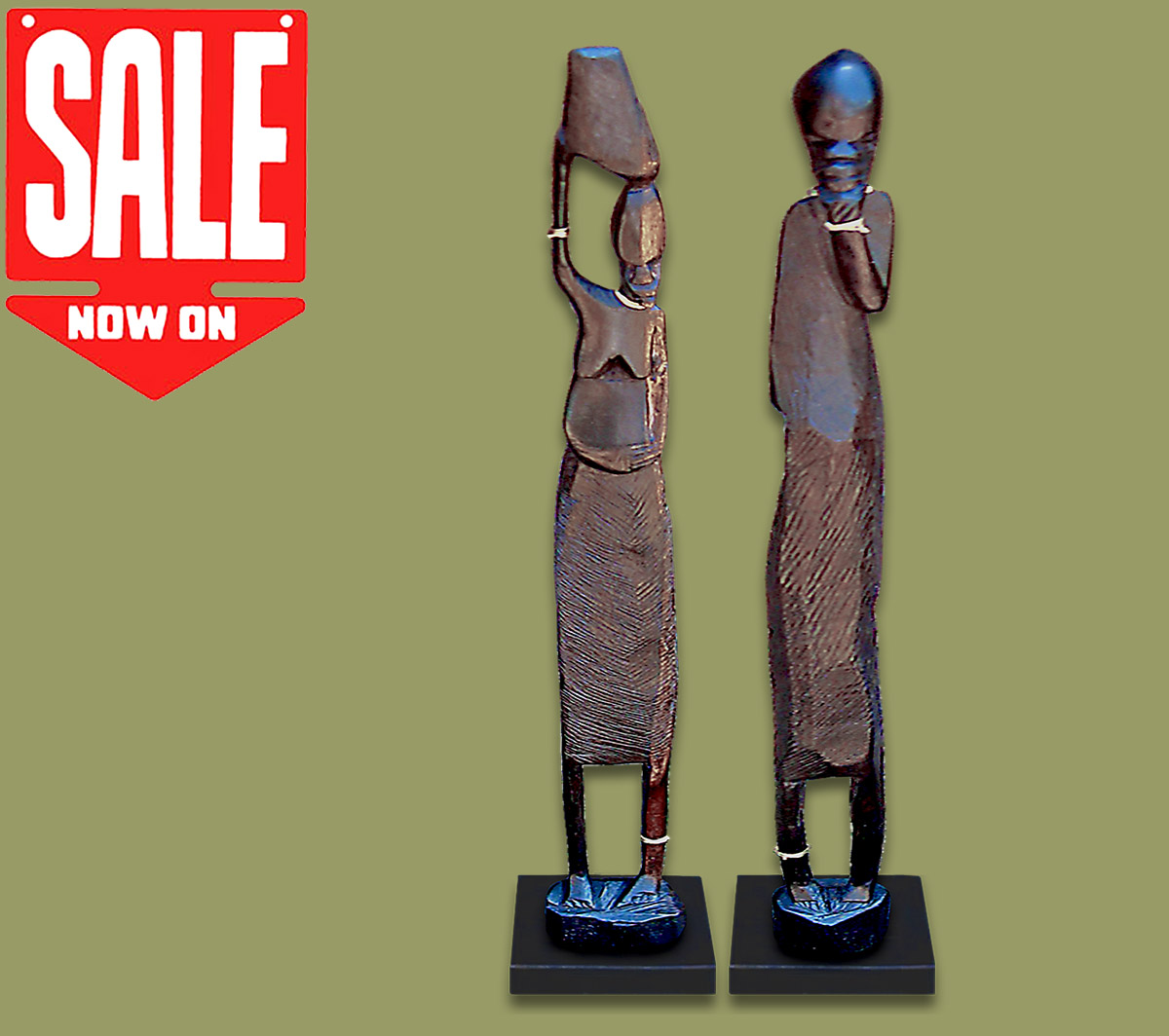 Wood Statues Pair