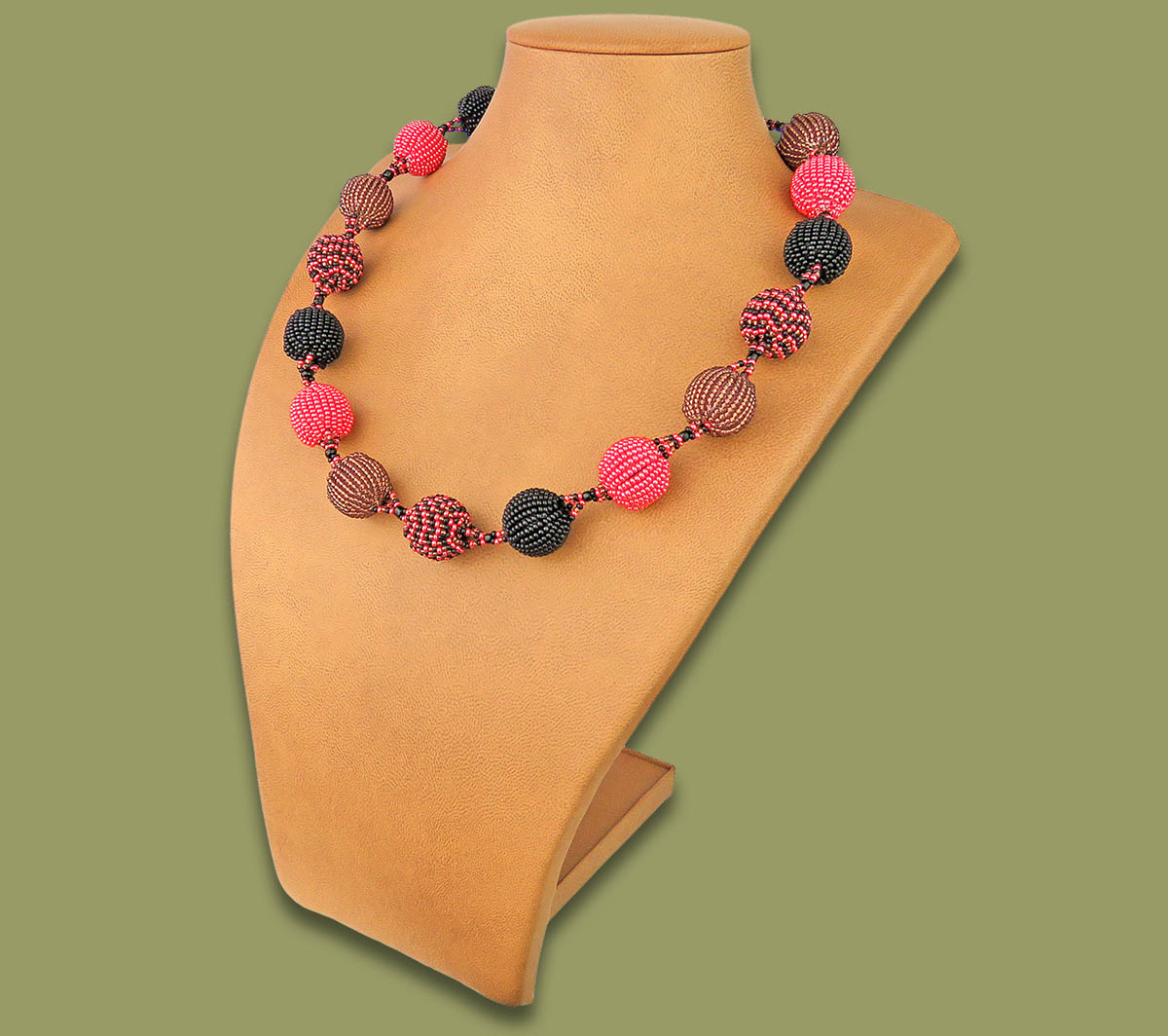 Beaded Bobble Necklace Pink Copper Black