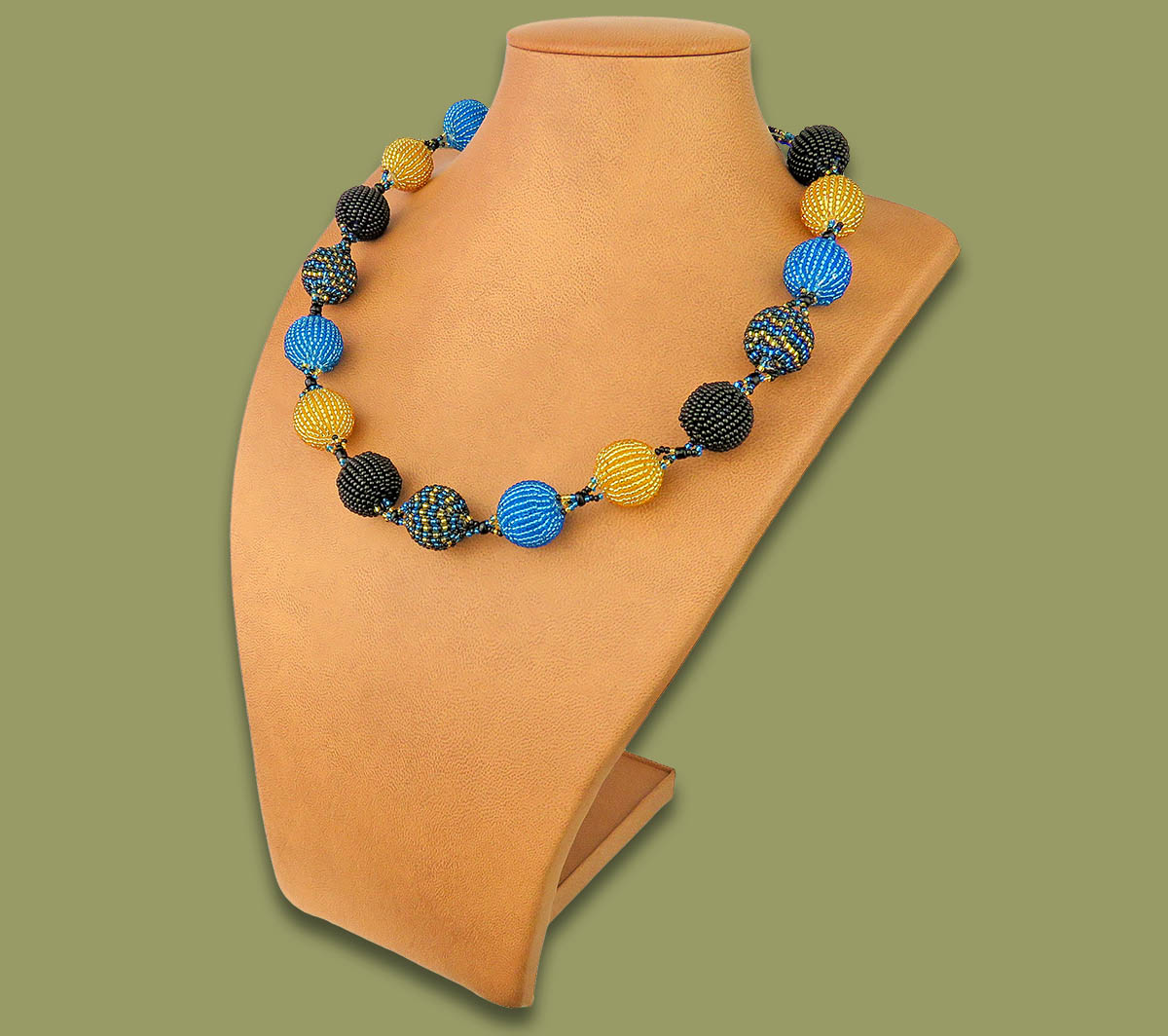 African Beaded Bobble Necklace Blue Silver Black