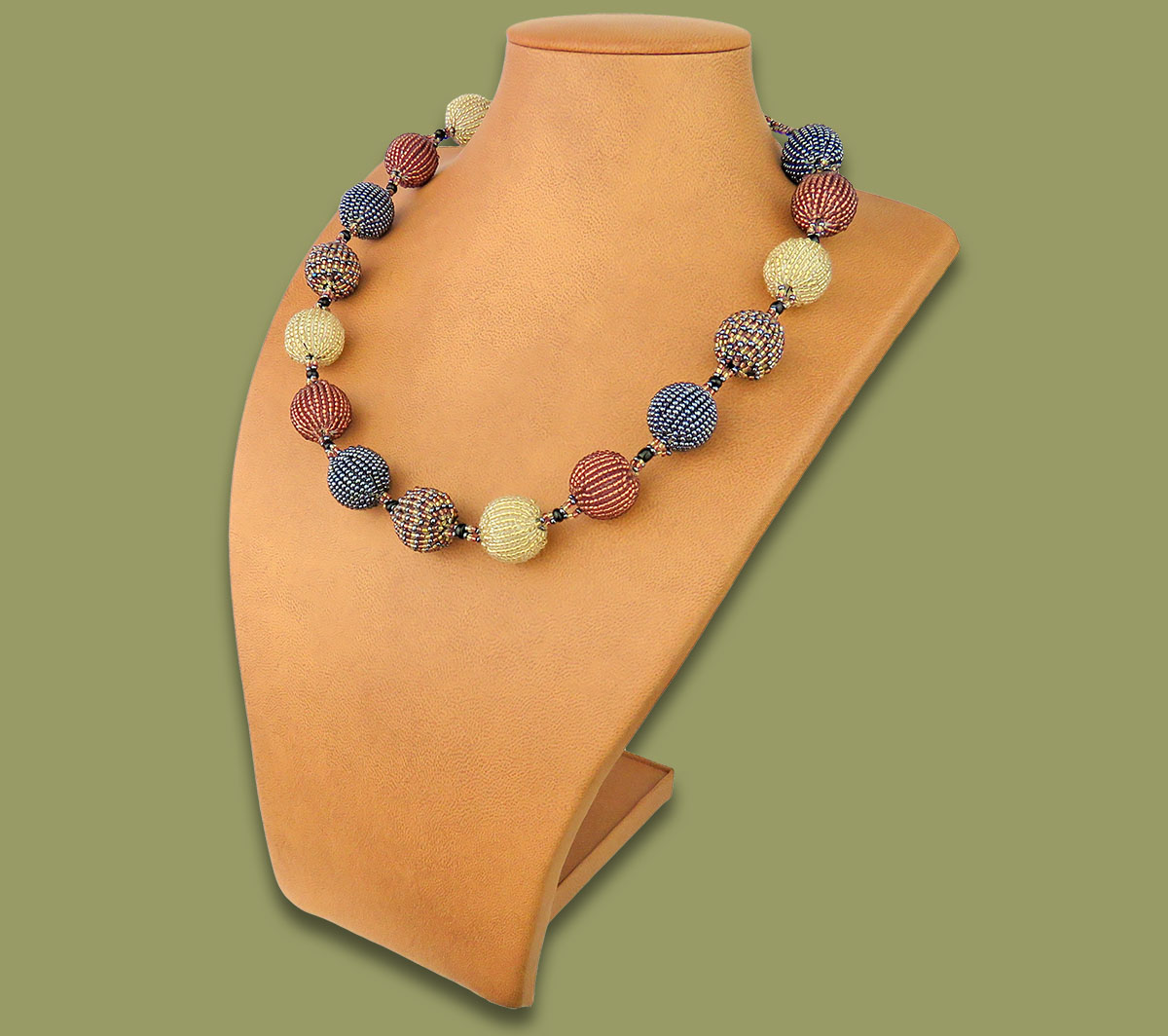 African Beaded Bobble Necklace Copper Metallic White-Gold