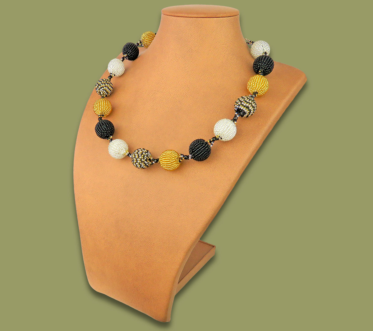 African Beaded Bobble Necklace Gold Silver Black