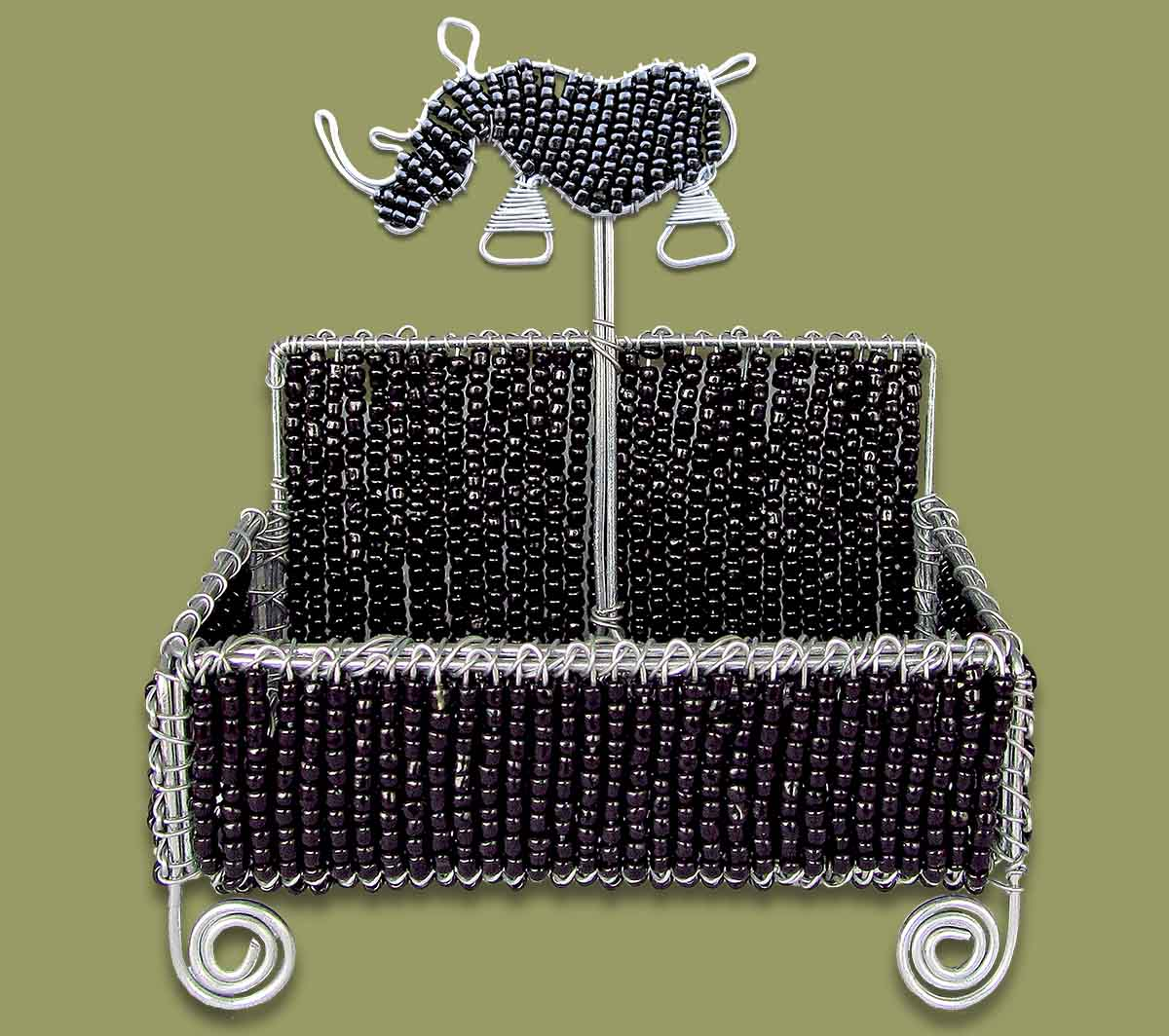 Beaded Business Card Holder Black Rhino