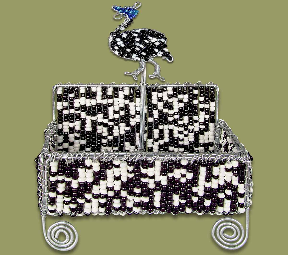 Guinea Fowl Beaded Business Card Holder