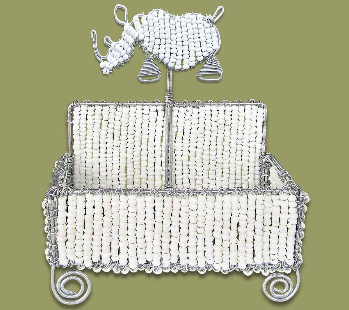 Beaded Business Card Holder White Rhino