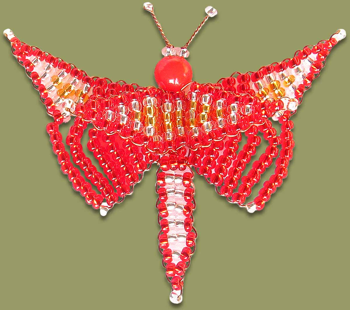 Beaded Butterfly Red
