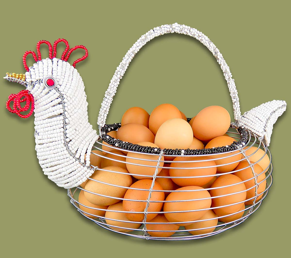 African Bead Amp Wirework Large Beaded Chicken Egg Basket