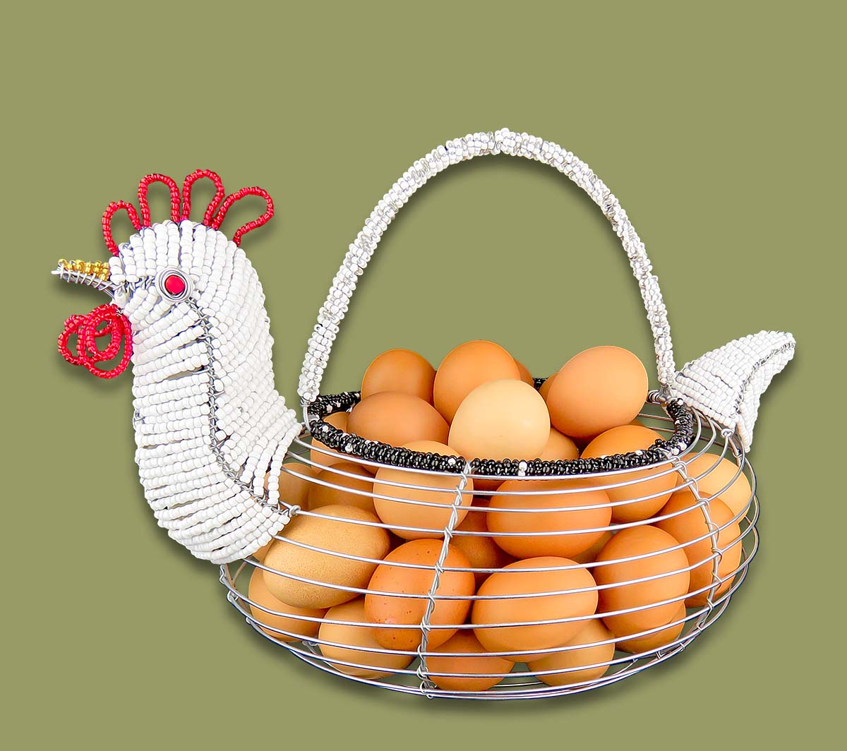 Medium Beaded Chicken Egg Basket