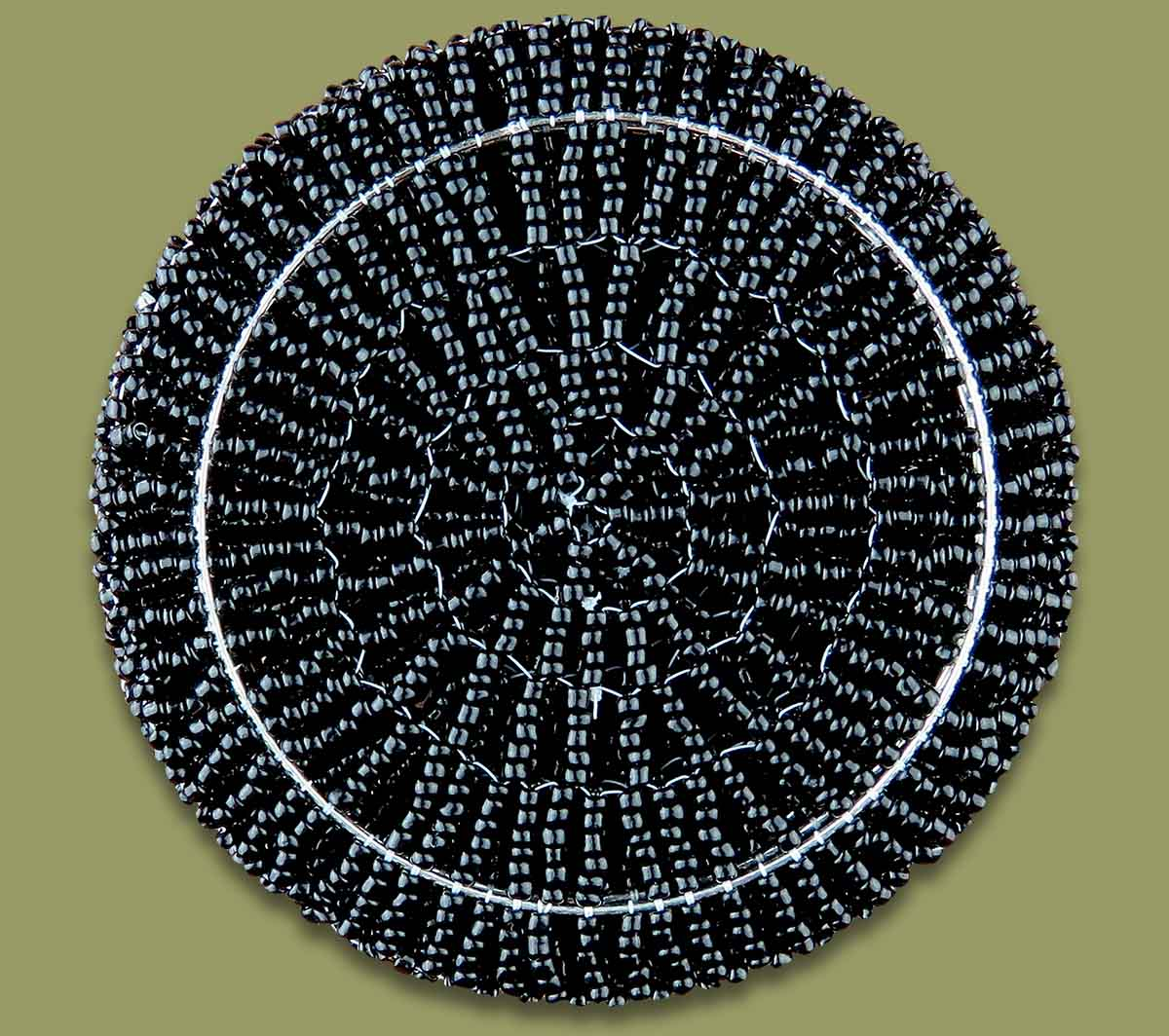 African Beaded Coaster Set X 6 Black