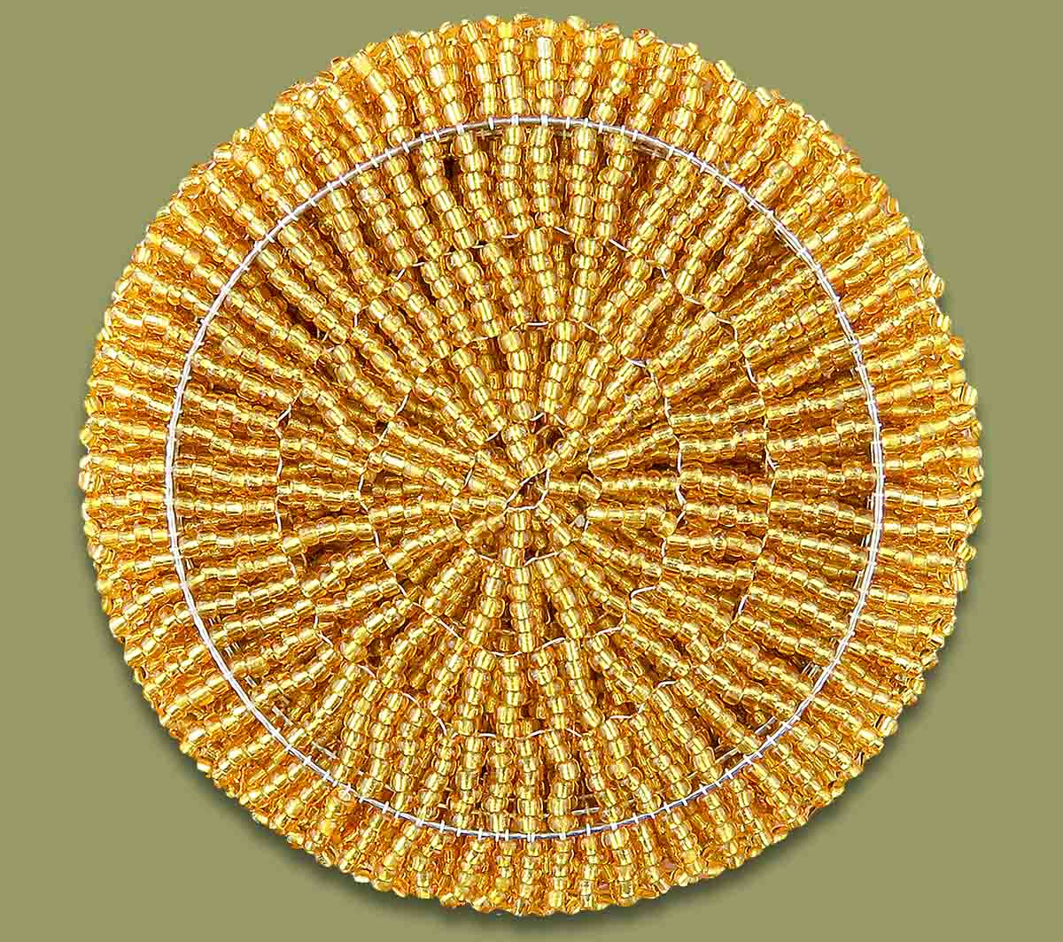 Beaded Coaster Set X 6 Gold