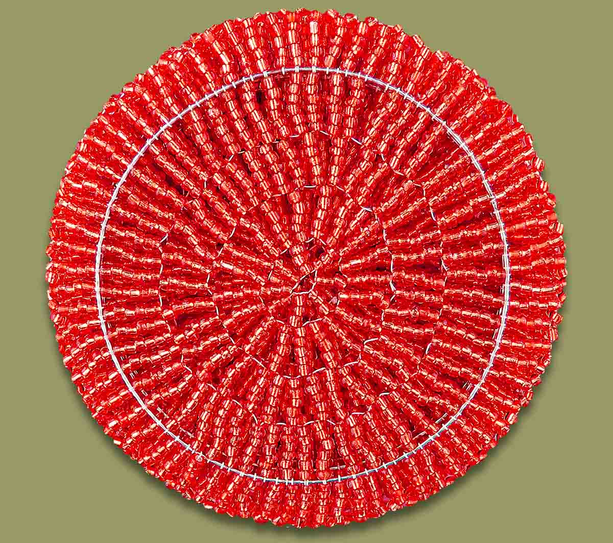 African Beaded Coaster Set X 6 Red