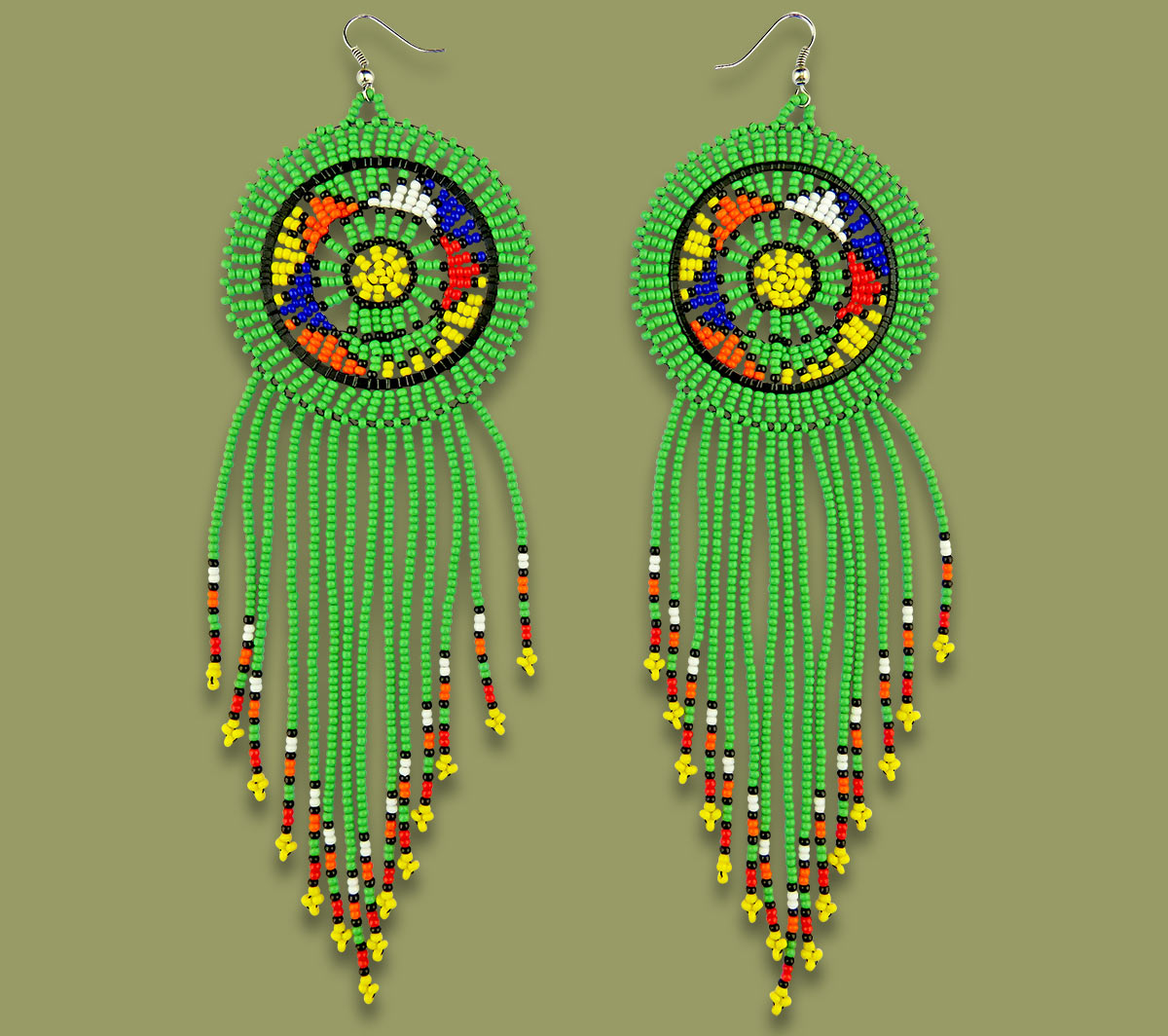 Large Circle Tassel Earrings Green