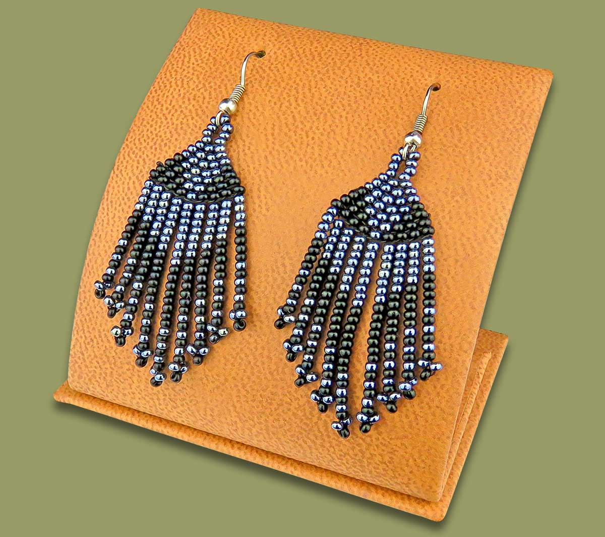 Beaded Short Tassel Earrings Black Metallic