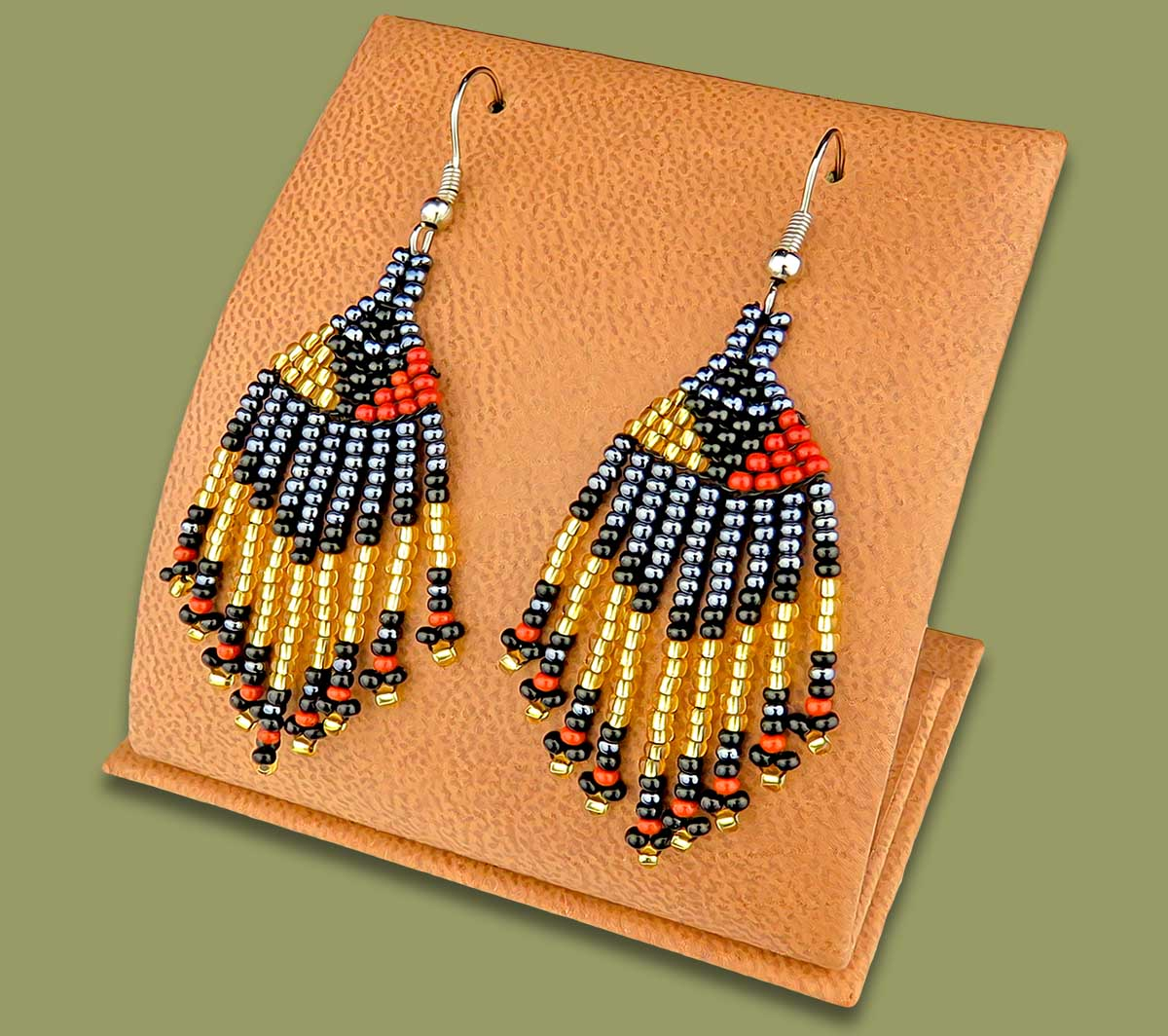 Beaded Short Tassel Earrings Brown Black Gold Metallic