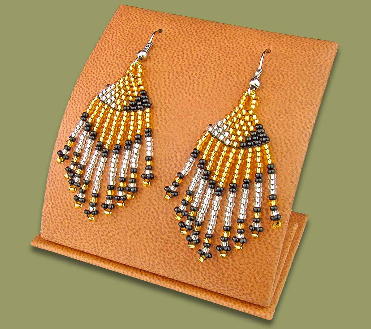 Beaded Short Tassel Earrings Gold Silver Black