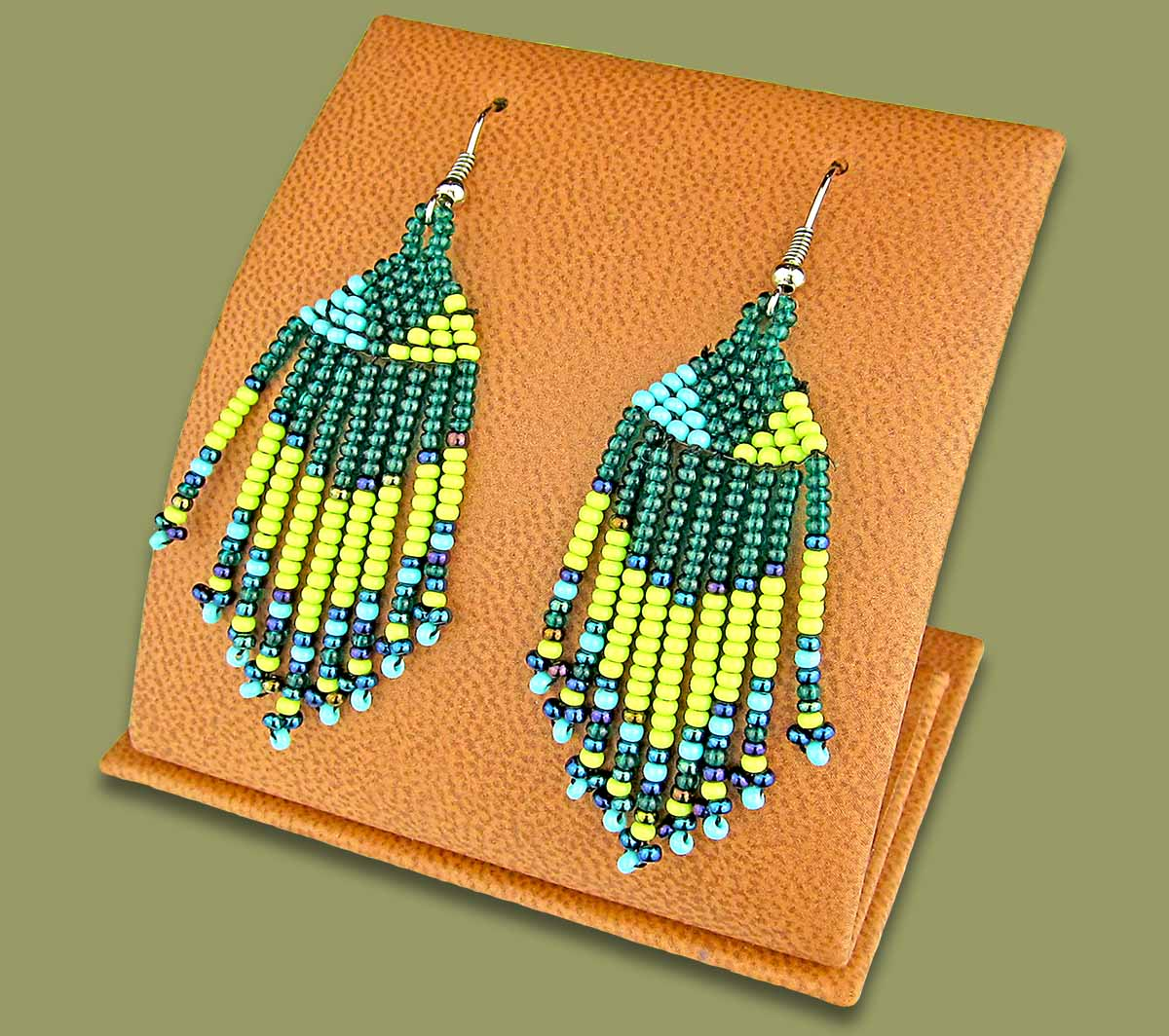 Beaded Short Tassel Earrings Lime Navy Blue Jade