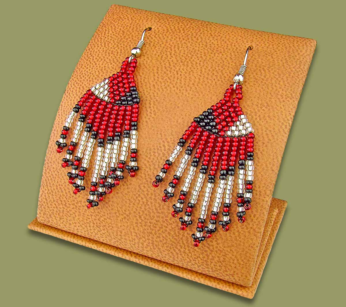 Beaded Short Tassel Earrings Red Silver Black