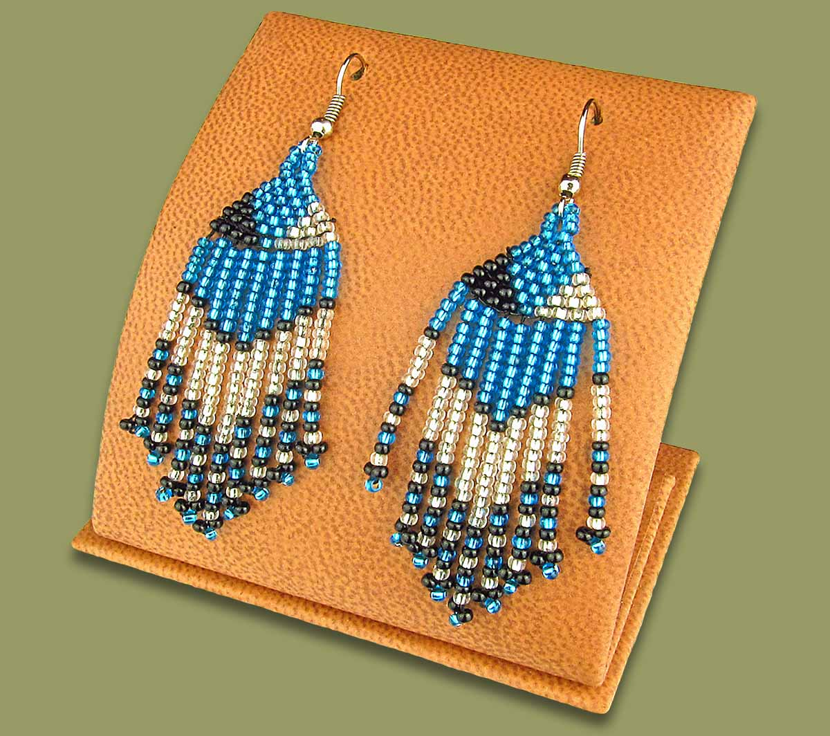 Beaded Short Tassel Earrings Blue Silver Black