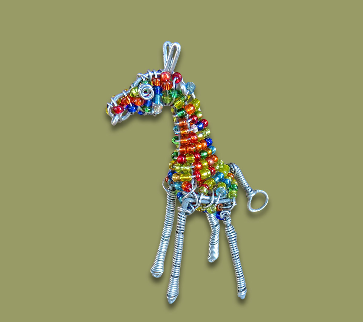 African Bead and Wirework Giraffe