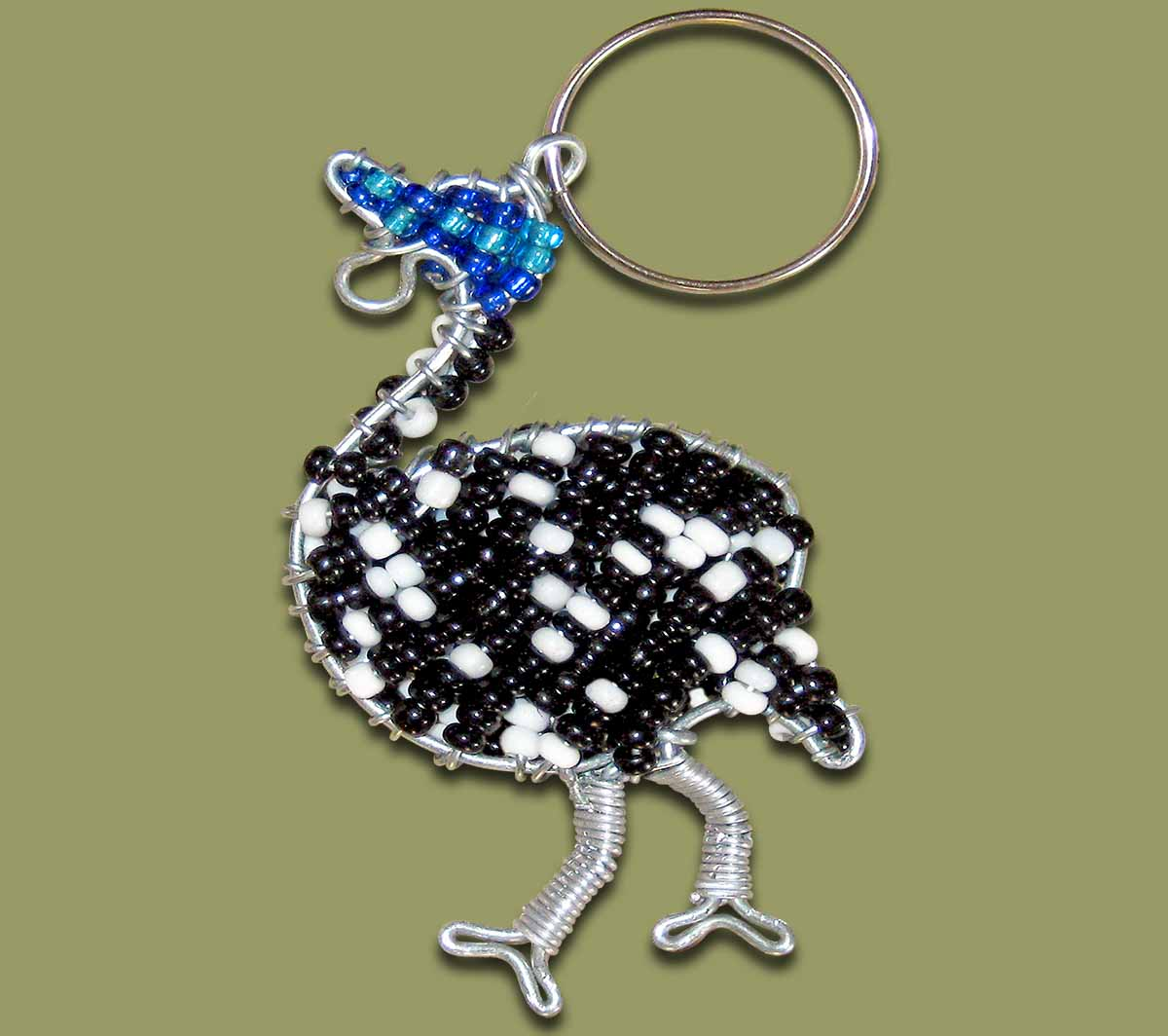 Beaded Key Ring Guinea Fowl