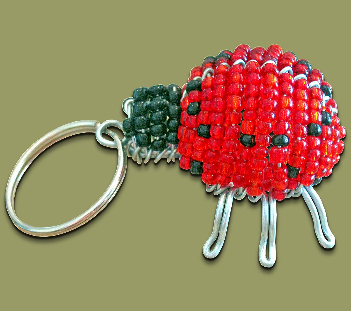 Beaded Key Ring Lady Bug