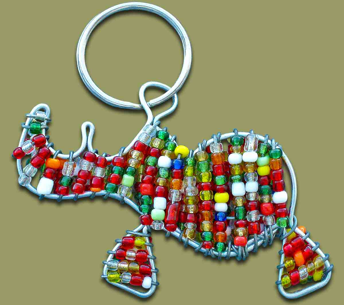 Beaded Key Ring Rhino.2