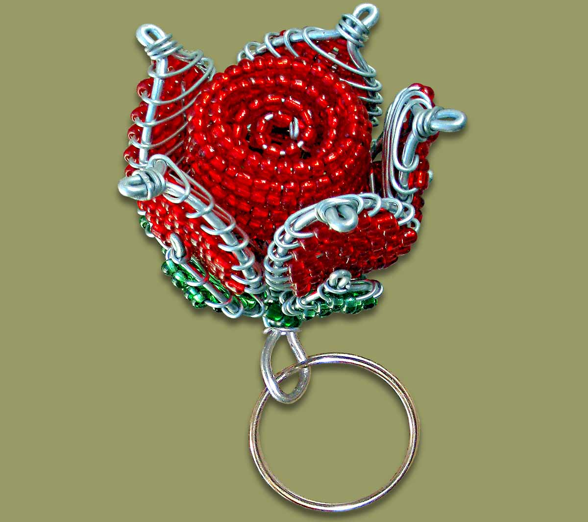 Beaded key rings ring rose