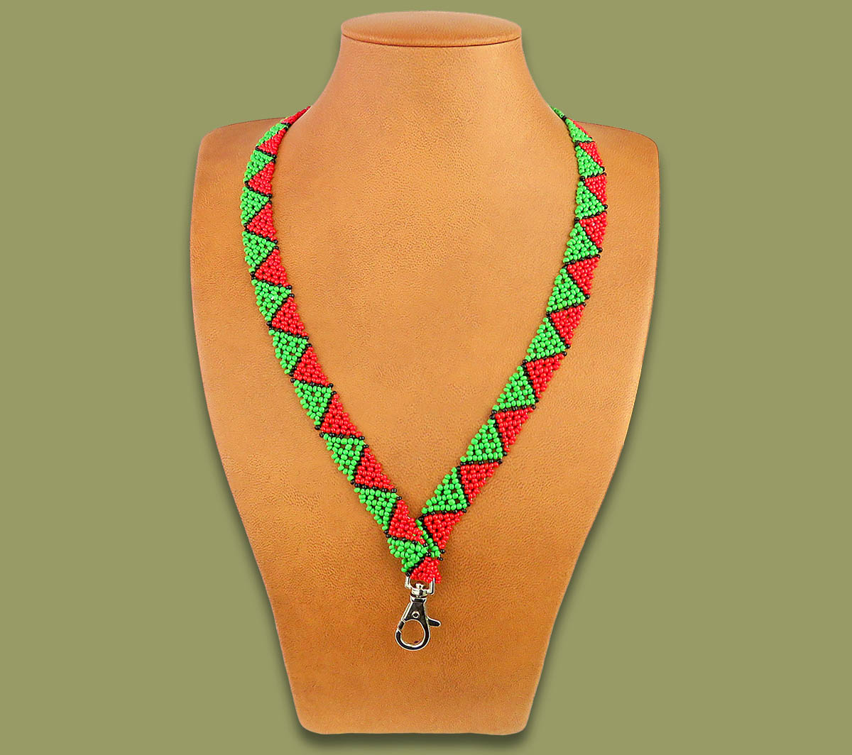 African Beaded Lanyard Zulu Spear Green Red Black