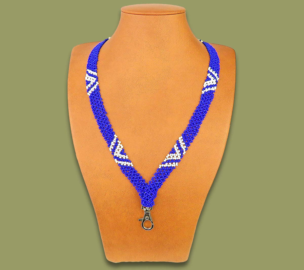 Completely new Beaded Lanyards African: Beaded Lanyard Zulu V Design Blue White YL66