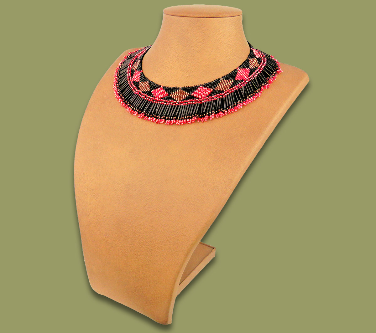 African Beaded Necklace Thandi Pink Copper Black