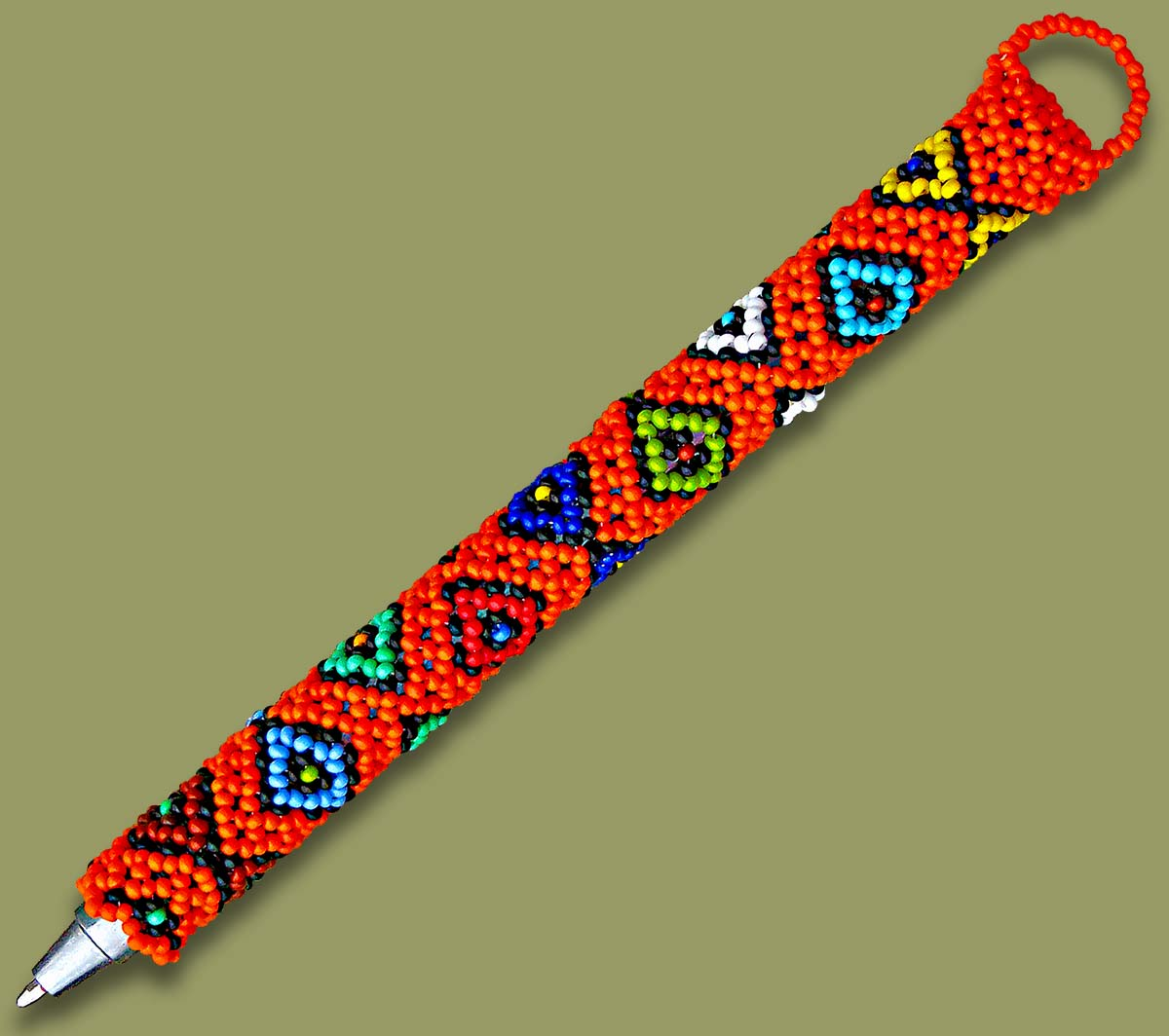 Beaded Pen Orange Diamond