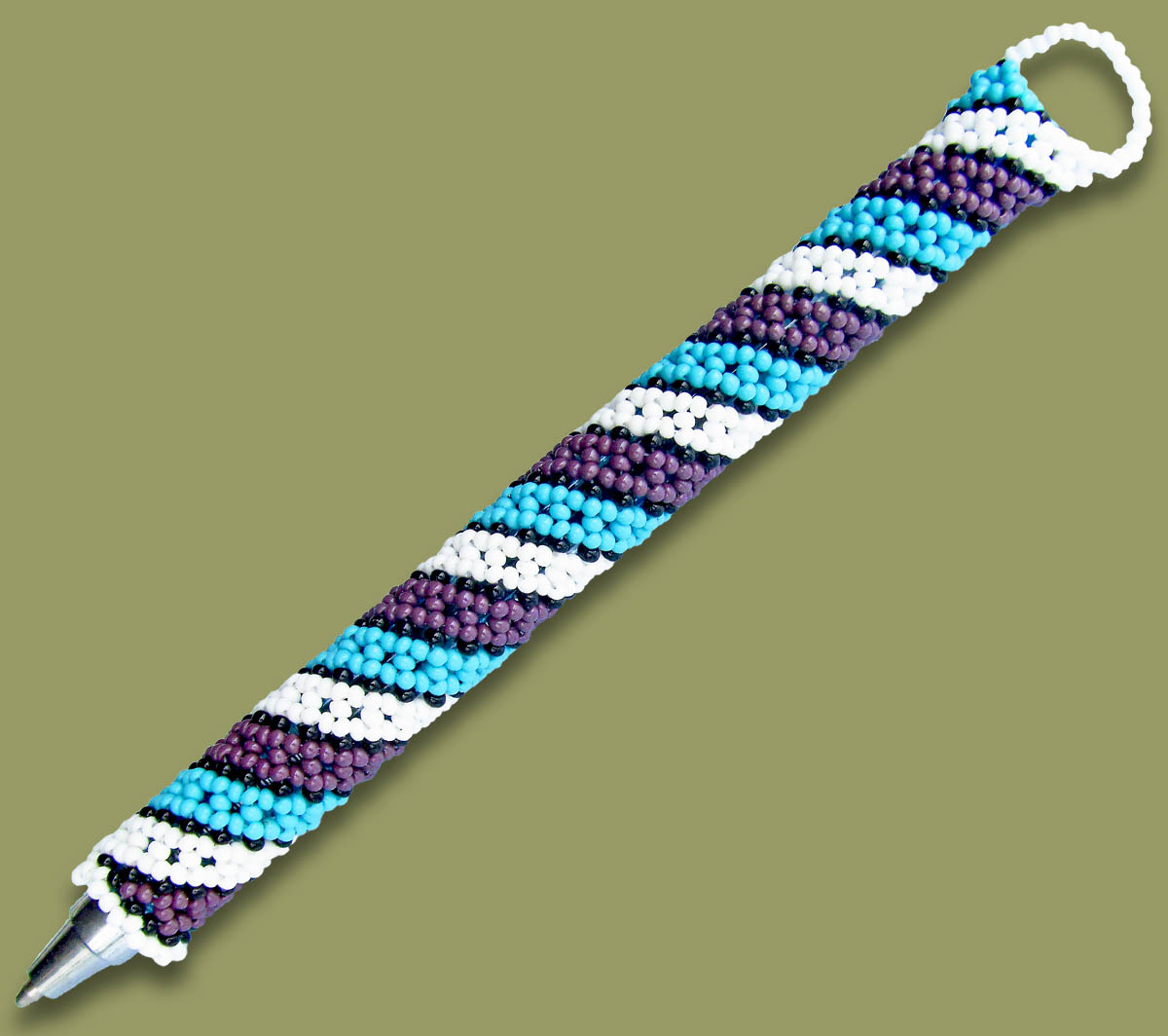 Beaded Pen Spiral Blue White Purple