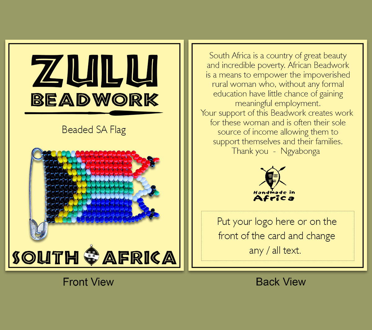 Beaded SA Flag Packaging