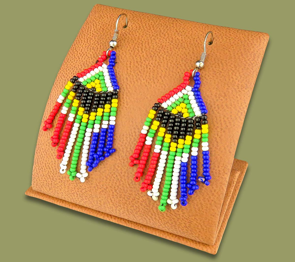 Beaded SA Flag Earrings Short Tassel