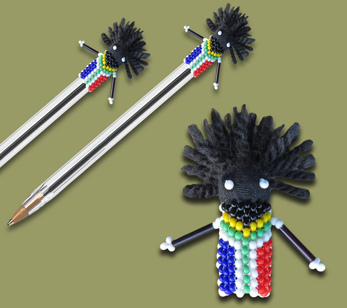 Beaded SA Flag Zulu Doll Pen