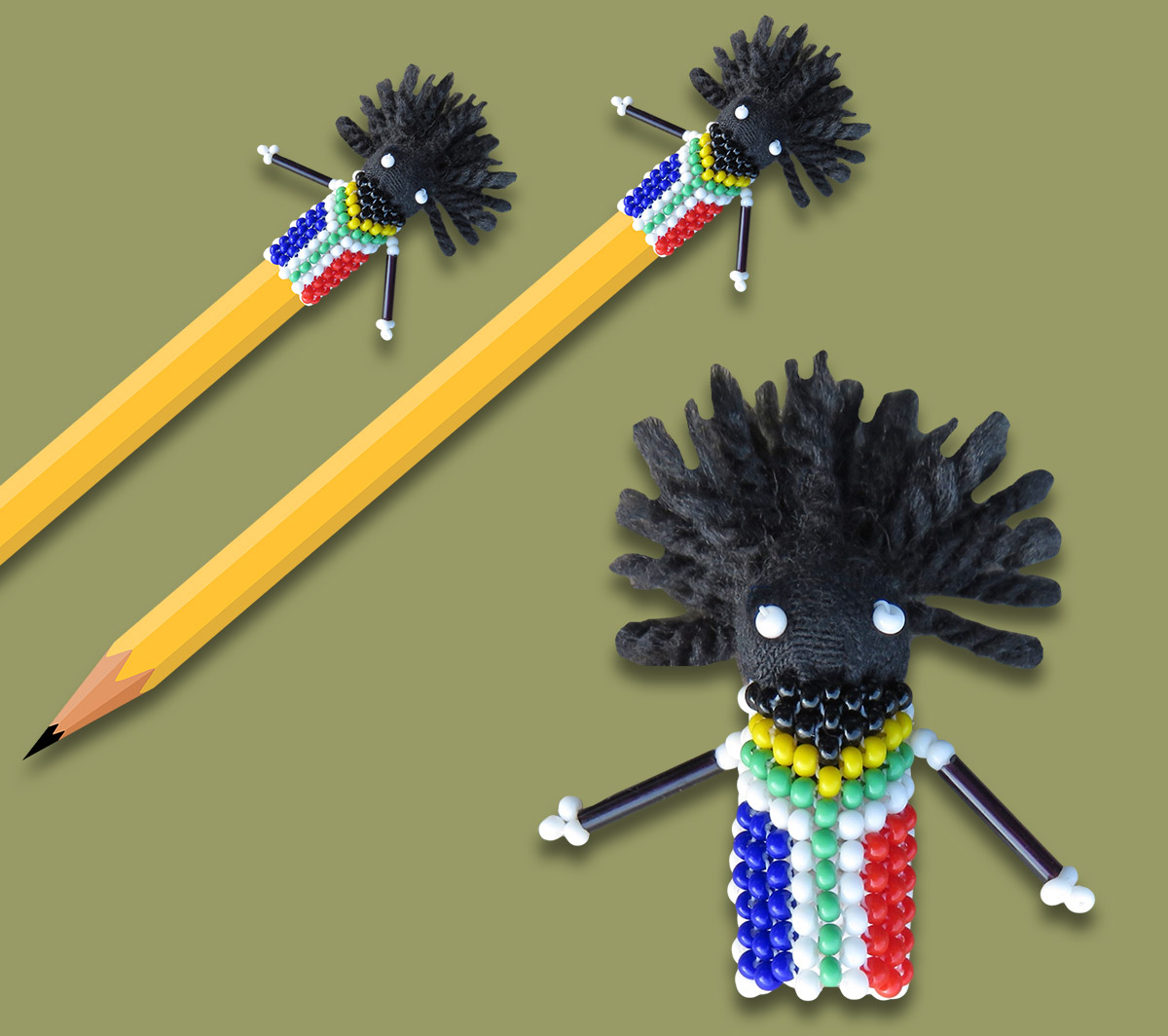 Beaded SA Flag Zulu Doll Pencil