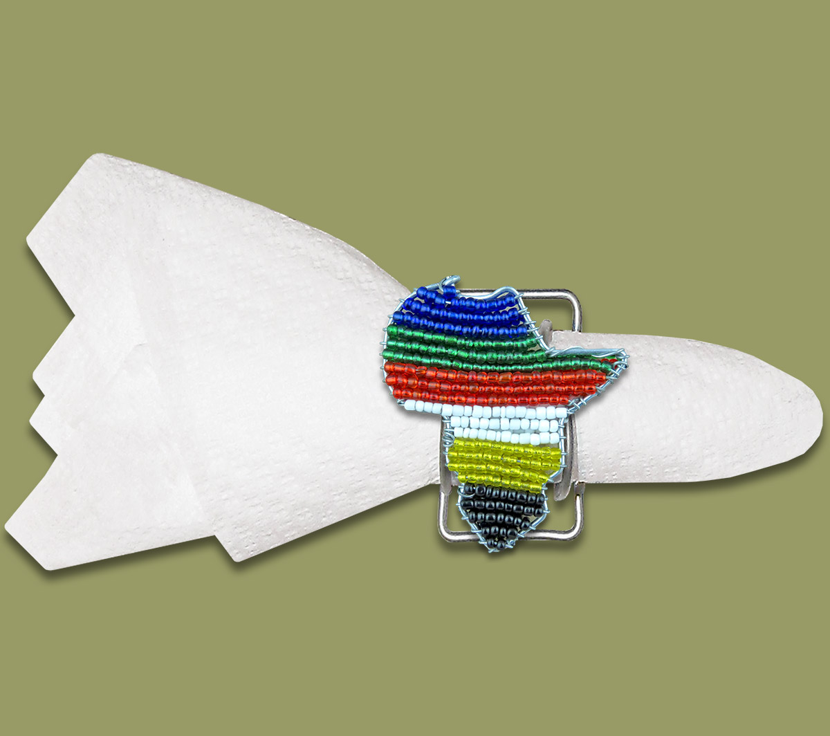 Beaded SA Flag Serviette Ring Africa Map