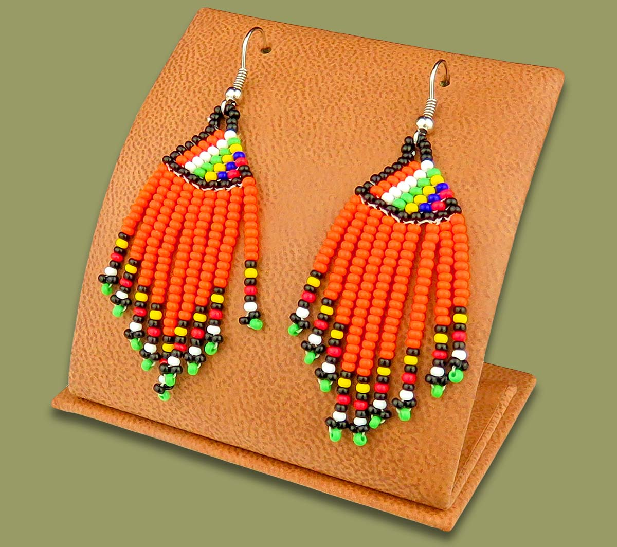 Beaded Short Tassel Earrings African Colours