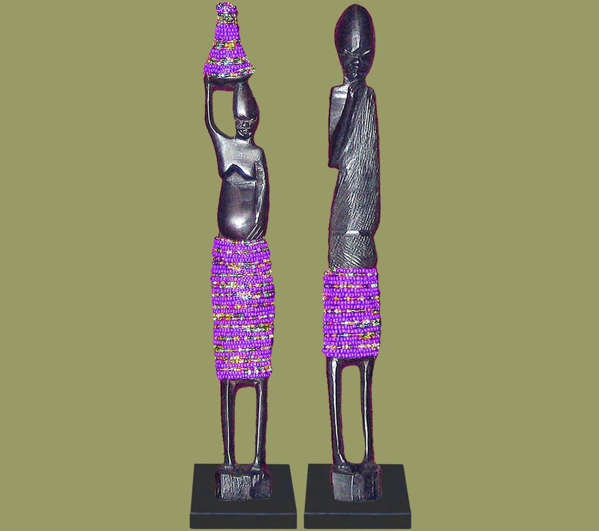 African Beaded Statues Pair Purple Large