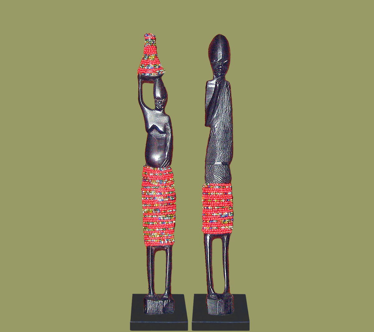 African Beaded Statues Red Small