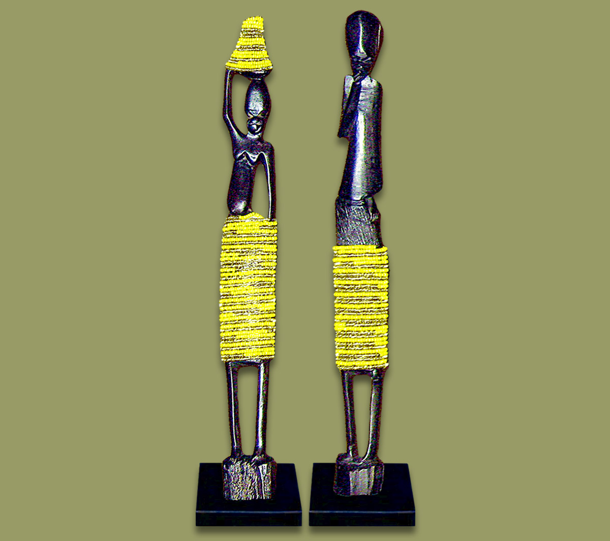 African Beaded Statues Pair Yellow Large