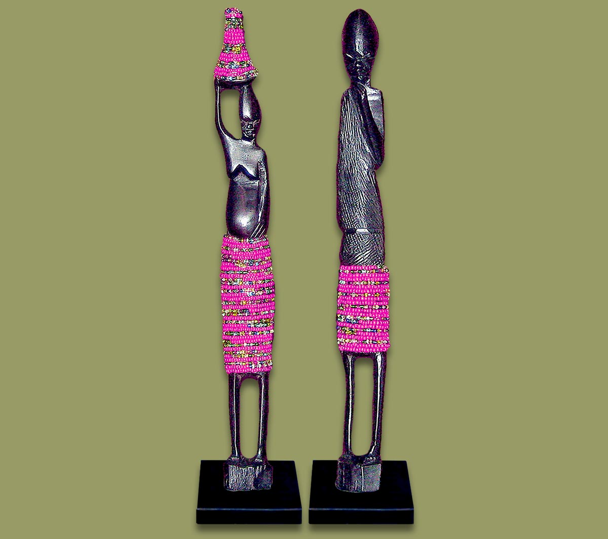 African Beaded Statues Pink Large