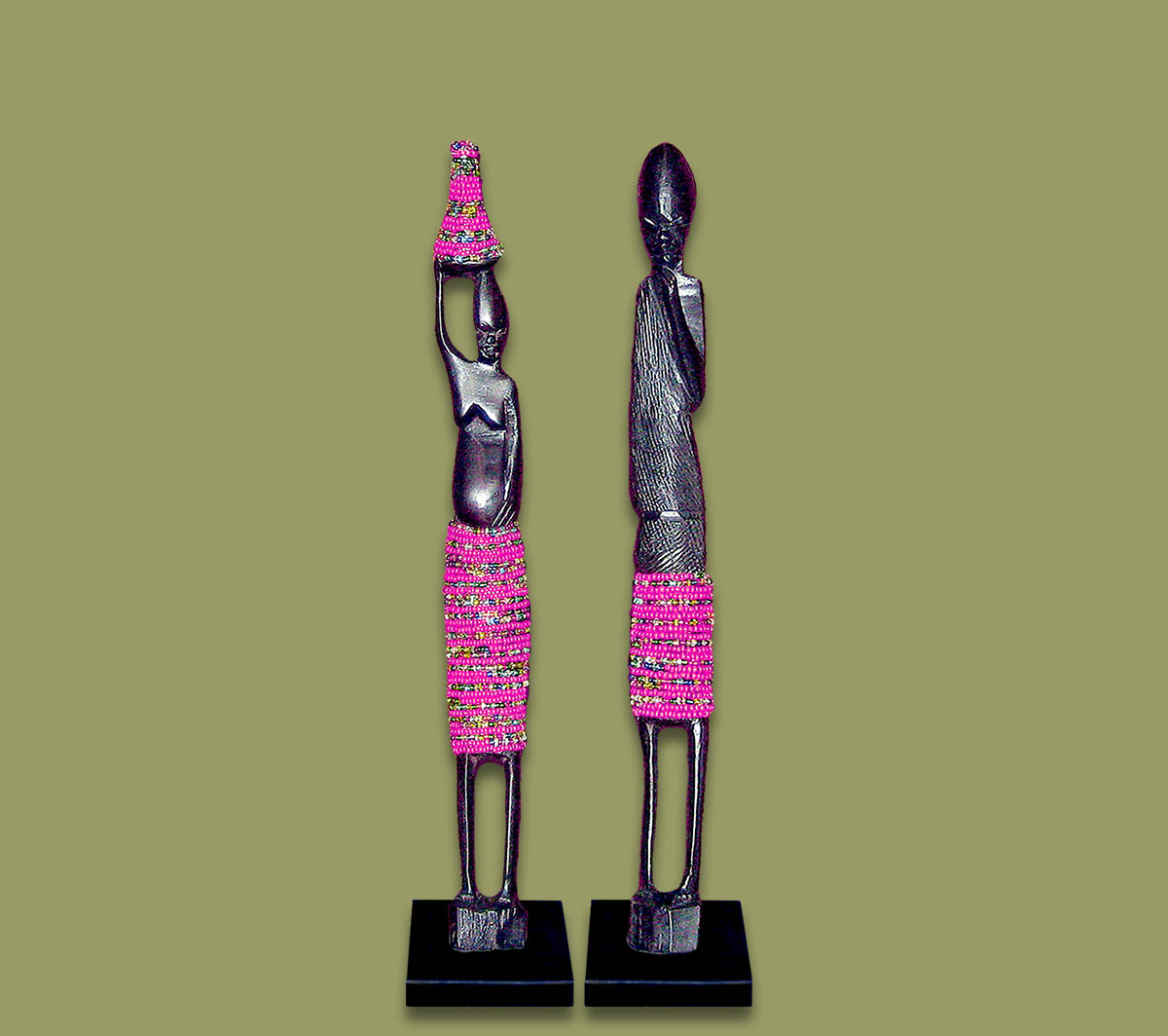 African Beaded Statues Pink Small