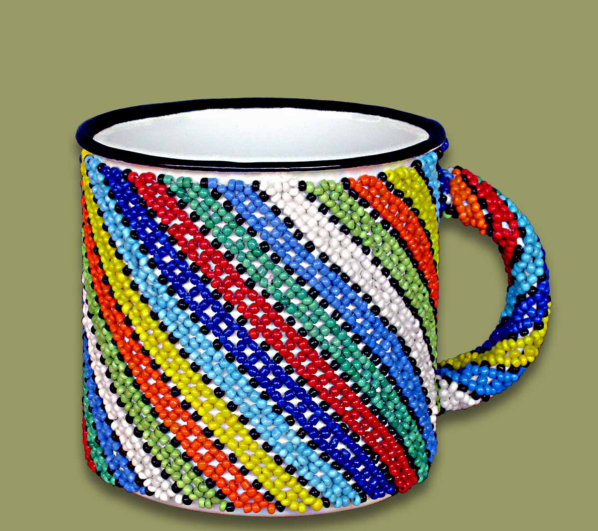Beaded Tin Mug Small  Diagonal Stripe