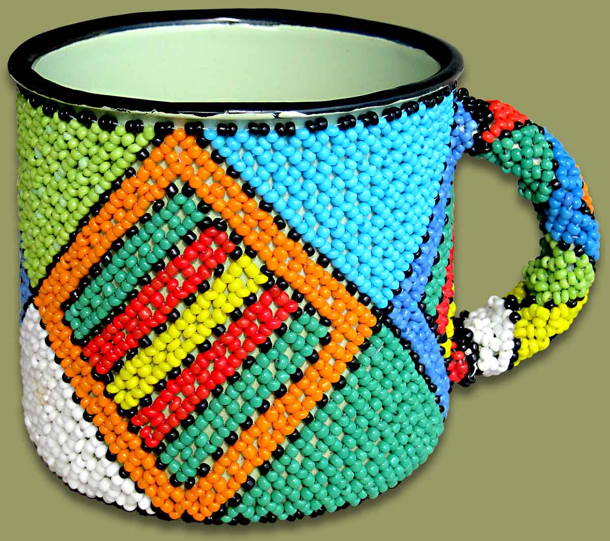 Beaded Tin Mug Large Diamond.2