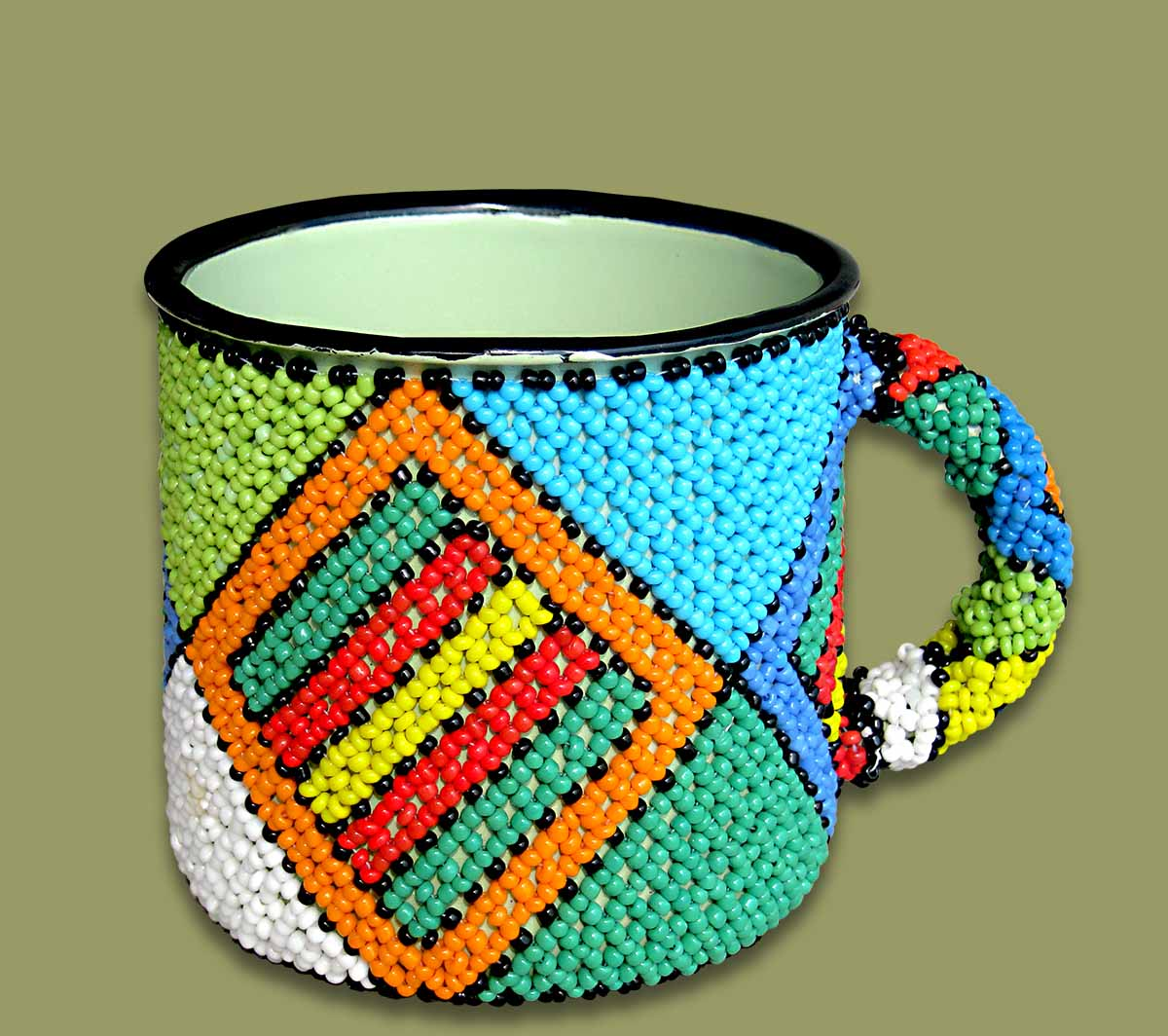 Beaded Tin Mug Small Diamond.2