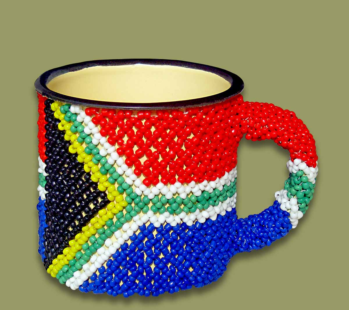 Beaded SA Flag Tin Mug Small