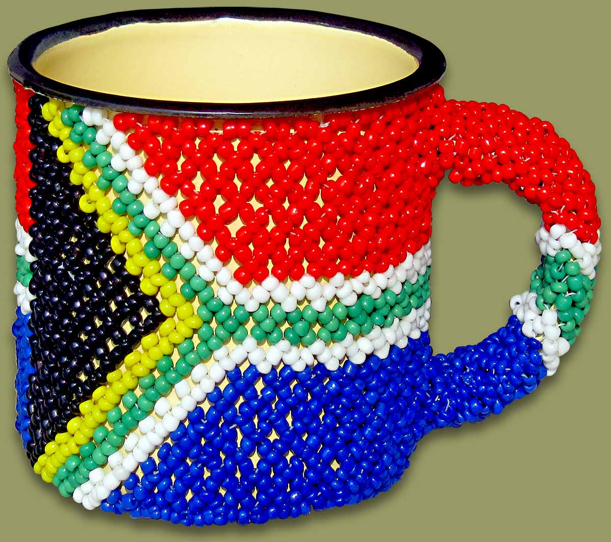 Beaded Tin Mug Large SA Flag