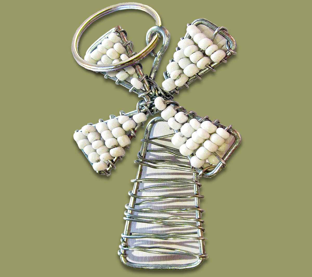 Beaded Key Ring Windmill