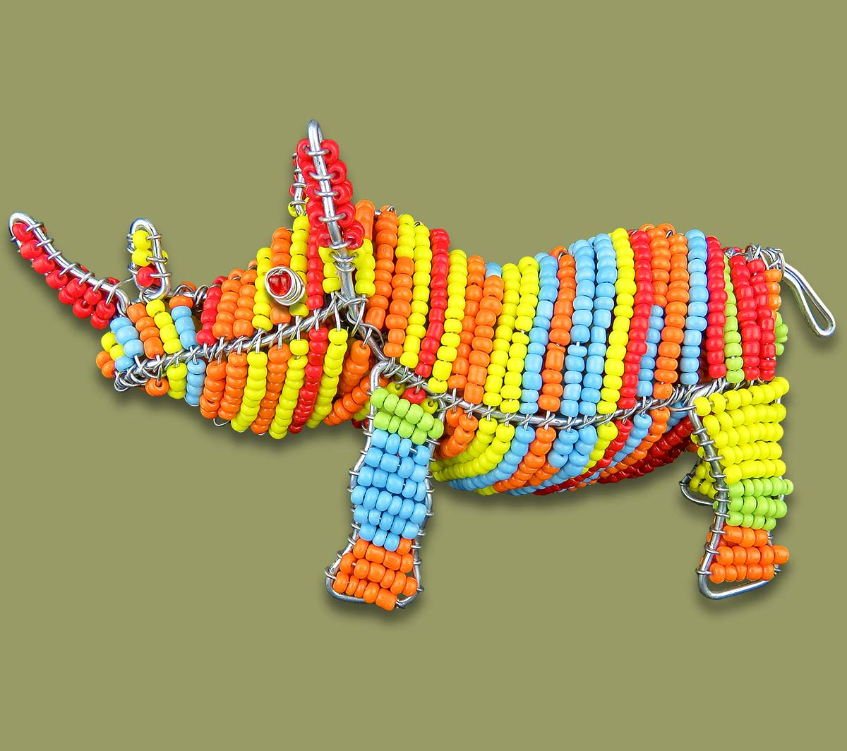 Colorful African Beaded Rhino